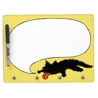 Worn out Black Kitten Yellow Dry Erase Board With Keychain Holder