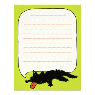 Worn out Black Kitten Yellowish Green Letterhead