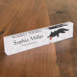 Worn out Kitten Asian style Desk Name Plate