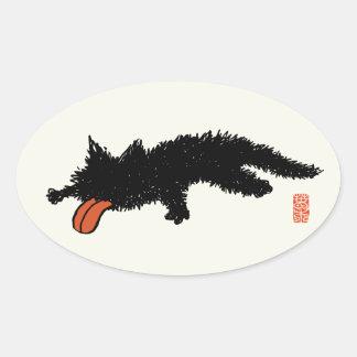 Worn out Kitten Oval Sticker