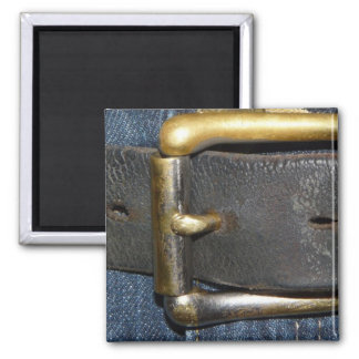 Worn out Leather Belt and Buckle 2 Inch Square Magnet