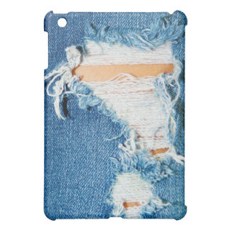 Worn Out, Ripped Denim Blue Jeans iPad Mini Covers