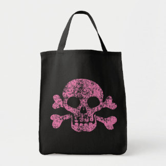 Worn Out Skull and Crossbones Grocery Tote Bag