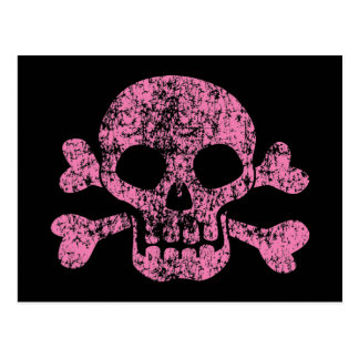 Worn Out Skull and Crossbones Postcard