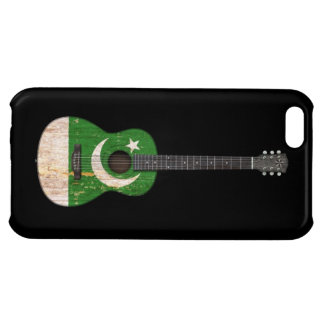 Worn Pakistani Flag Acoustic Guitar, black Cover For iPhone 5C