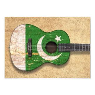Worn Pakistani Flag Acoustic Guitar 5x7 Paper Invitation Card