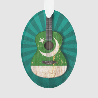 Worn Pakistani Flag Acoustic Guitar, teal Ornament