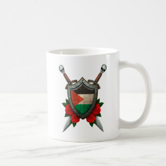 Worn Palestinian Flag Shield and Swords with Roses Coffee Mug