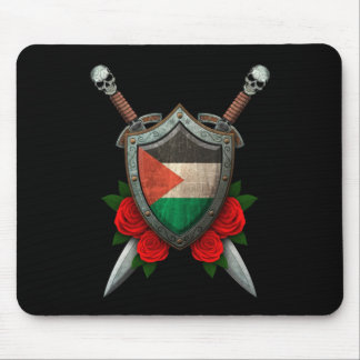 Worn Palestinian Flag Shield and Swords with Roses Mouse Pad
