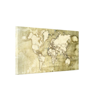 Worn Paper World Map Stretched Canvas Print