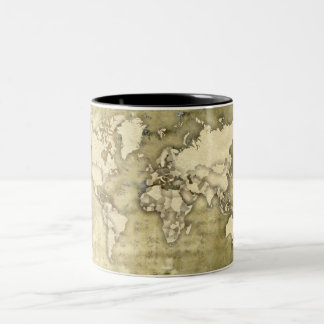 Worn Paper World Map Two-Tone Coffee Mug