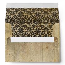 Worn Parchment and Black Damask Envelope