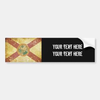 Worn Patriotic Florida State Flag Bumper Sticker