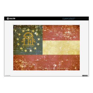 "Worn Patriotic Georgia State Flag Skin For 15"" Laptop"