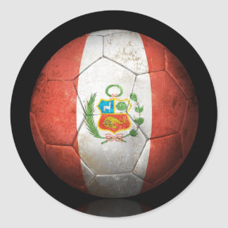 Worn Peruvian Flag Football Soccer Ball Round Sticker