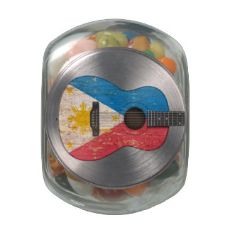 Worn Philippines Flag Acoustic Guitar Jelly Belly Candy Jar