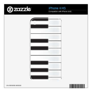 Worn Piano Keys Decal For The iPhone 4S
