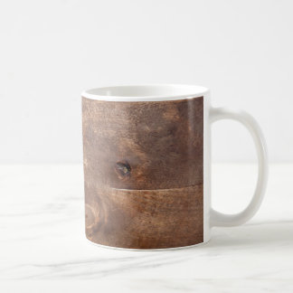 Worn pine board coffee mug