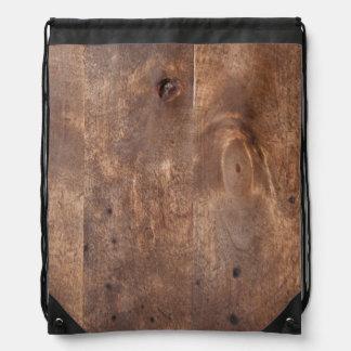 Worn pine board drawstring bag