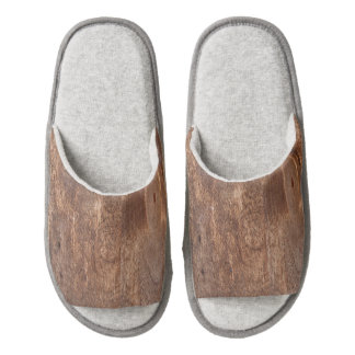 Worn pine board pair of open toe slippers