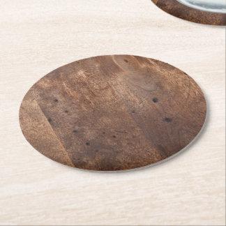 Worn pine board round paper coaster