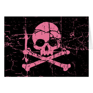 Worn Pink Skull and Crossbones Greeting Card