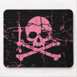 Worn Pink Skull and Crossbones Mouse Pad