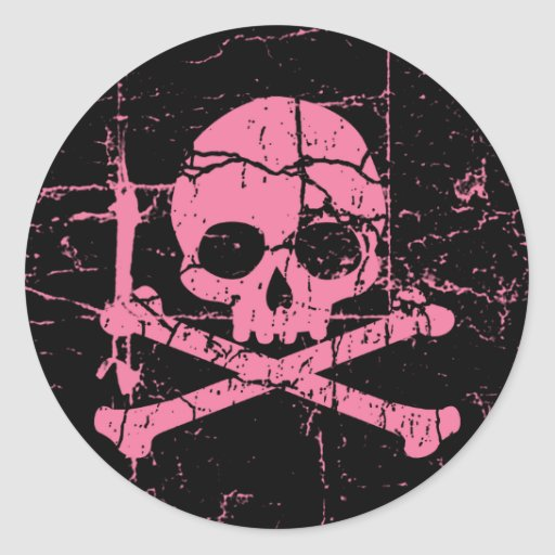Worn Pink Skull and Crossbones Round Stickers