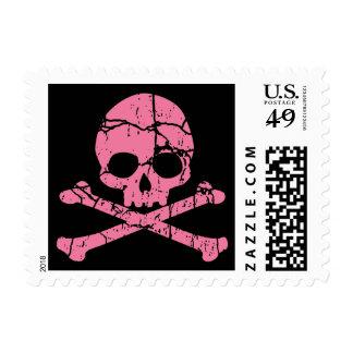 Worn Pink Skull Postage Stamps