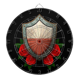 Worn Polish Flag Shield with Red Roses Dart Boards