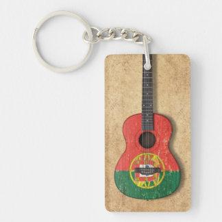 Worn Portuguese Flag Acoustic Guitar Keychain