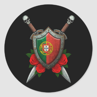 Worn Portuguese Flag Shield and Swords with Roses Classic Round Sticker