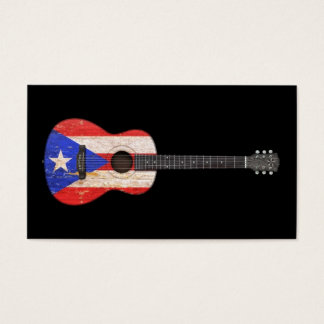 Worn Puerto Rico Flag Acoustic Guitar, black Business Card