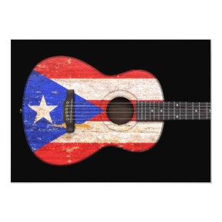 Worn Puerto Rico Flag Acoustic Guitar, black Card