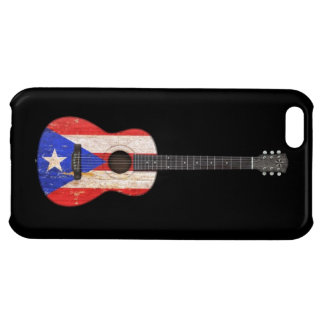 Worn Puerto Rico Flag Acoustic Guitar, black Case For iPhone 5C