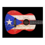 Worn Puerto Rico Flag Acoustic Guitar, black Postcards