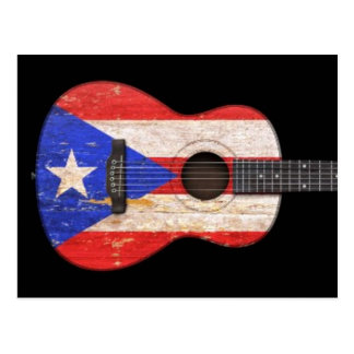 Worn Puerto Rico Flag Acoustic Guitar, black Postcard