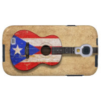 Worn Puerto Rico Flag Acoustic Guitar Galaxy S4 Case