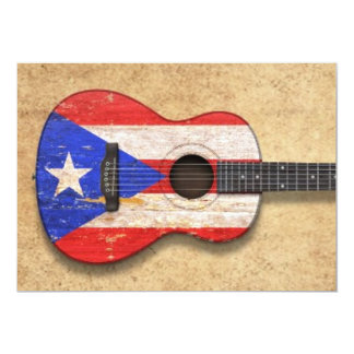 Worn Puerto Rico Flag Acoustic Guitar Personalized Invite