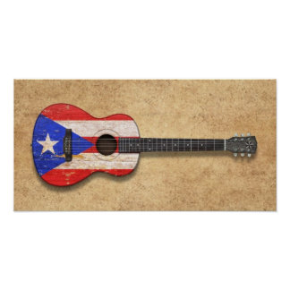 Worn Puerto Rico Flag Acoustic Guitar Poster
