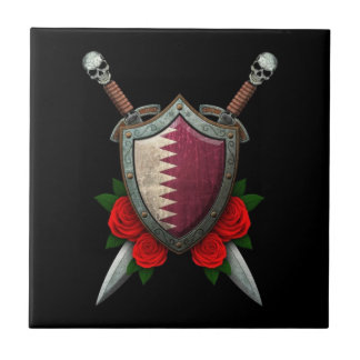 Worn Qatari Flag Shield and Swords with Roses Ceramic Tile