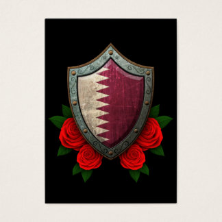 Worn Qatari Flag Shield with Red Roses Business Card