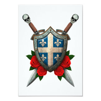 Worn Quebec Flag Shield and Swords with Roses 3.5x5 Paper Invitation Card