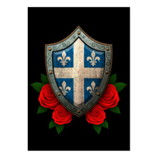 Worn Quebec Flag Shield with Red Roses Business Card Templates