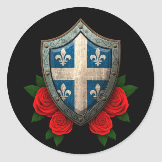 Worn Quebec Flag Shield with Red Roses Classic Round Sticker