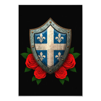 Worn Quebec Flag Shield with Red Roses 3.5x5 Paper Invitation Card