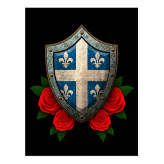 Worn Quebec Flag Shield with Red Roses Postcard