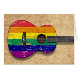 Worn Rainbow Gay Pride Flag Acoustic Guitar Card