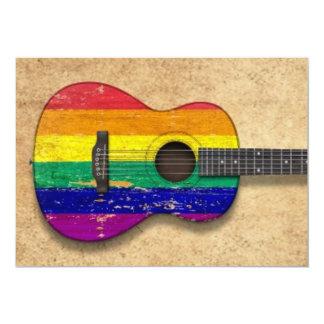 Worn Rainbow Gay Pride Flag Acoustic Guitar Invite
