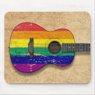 Worn Rainbow Gay Pride Flag Acoustic Guitar Mouse Pad